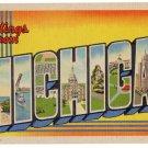 MICHIGAN large letter linen postcard Teich