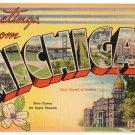 MICHIGAN large letter linen postcard Tichnor