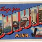 DULUTH, Minnesota large letter linen postcard Teich