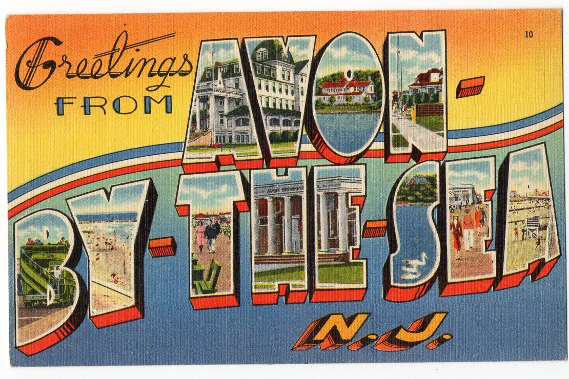 AVON-BY-THE-SEA, New Jersey large letter linen postcard Tichnor