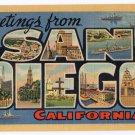 SAN DIEGO, California large letter linen postcard Teich