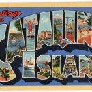 CATALINA ISLAND, California large letter linen postcard Teich