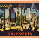 HOLLYWOOD, California large letter linen postcard Longshaw