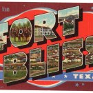 FORT BLISS, Texas large letter linen postcard Teich