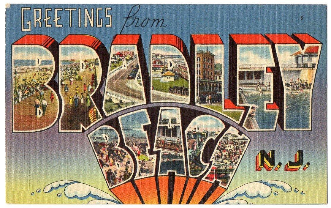 BRADLEY BEACH, New Jersey large letter linen postcard Tichnor