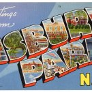 ASBURY PARK, New Jersey large letter linen postcard Tichnor