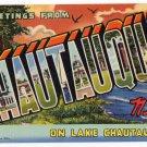 CHAUTAUQUA, New York large letter linen postcard Teich