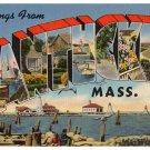 NANTUCKET, Massachusetts large letter linen postcard Tichnor