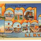 LONG BEACH, New York large letter linen postcard Teich