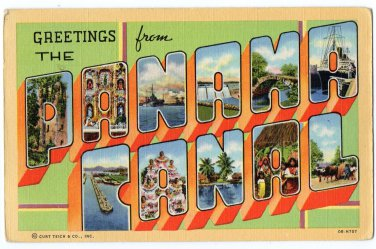 PANAMA CANAL large letter linen postcard Teich