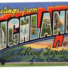 HIGHLANDS, North Carolina large letter linen postcard Teich