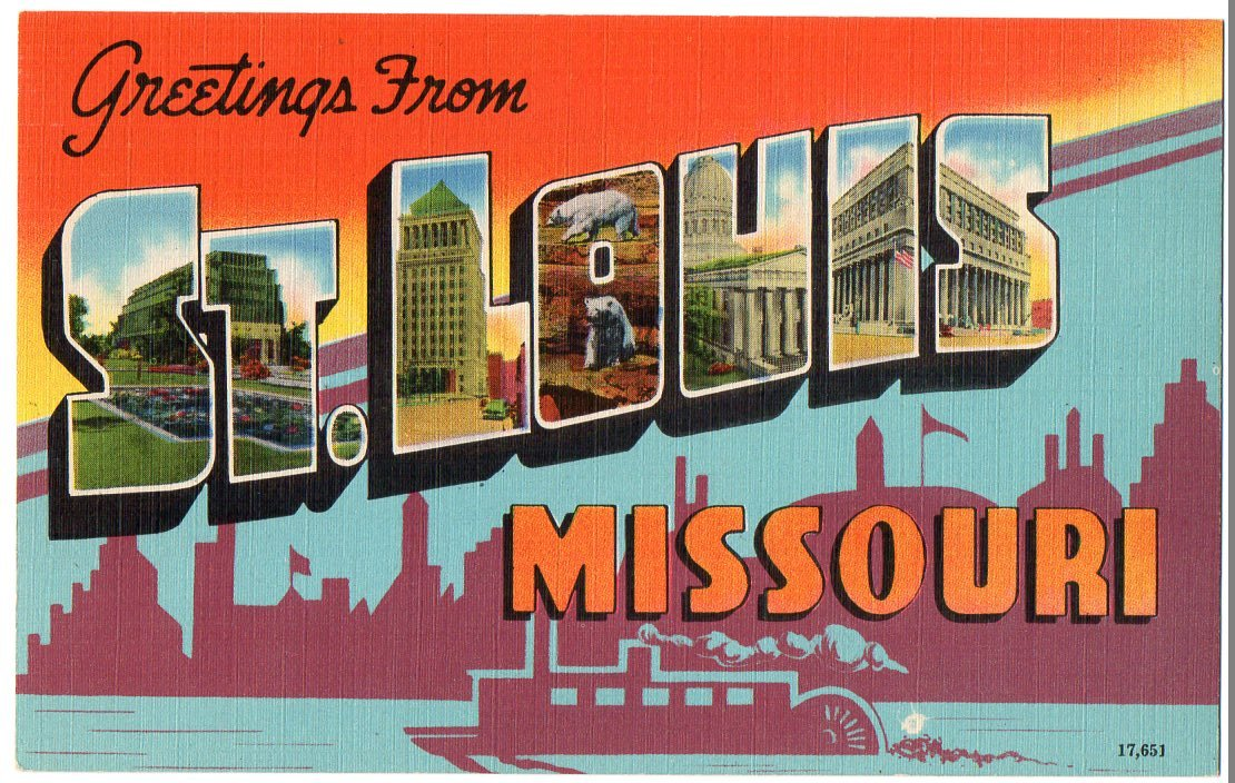 ST. LOUIS, Missouri large letter linen postcard Colourpicture