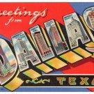 DALLAS, Texas large letter linen postcard Teich
