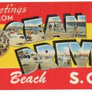 OCEAN DRIVE, South Carolina large letter linen postcard Tichnor