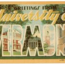 UNIVERSITY OF VERMONT large letter linen postcard Dexter