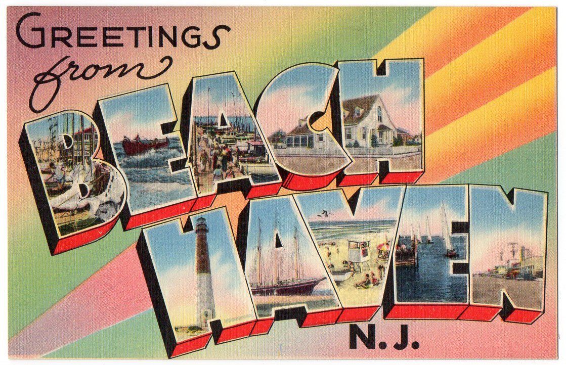 BEACH HAVEN, New Jersey large letter linen postcard Tichnor