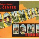 MOUNTAIN HOME, Tennessee large letter linen postcard Teich