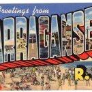 NARRAGANSETT, Rhode Island large letter linen postcard Teich