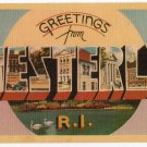 WESTERLY, Rhode Island large letter linen postcard Dexter