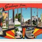 COLUMBIA, South Carolina large letter linen postcard Eastern Photo