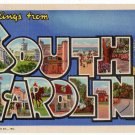 SOUTH CAROLINA large letter linen postcard Teich