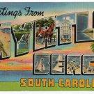 MYRTLE BEACH, South Carolina large letter linen postcard Colourpicture