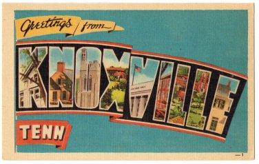 KNOXVILLE, Tennessee large letter linen postcard Dexter