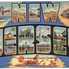 NEW JERSEY large letter linen postcard Teich