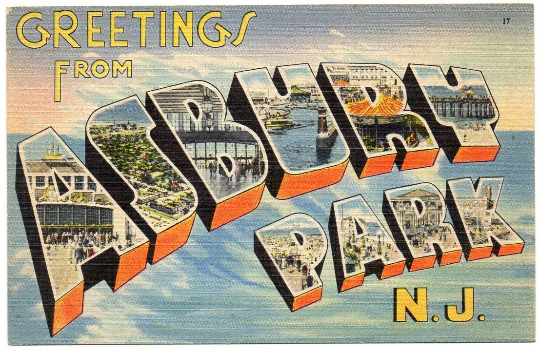 ASBURY PARK, New Jersey large letter linen postcard Tichnor