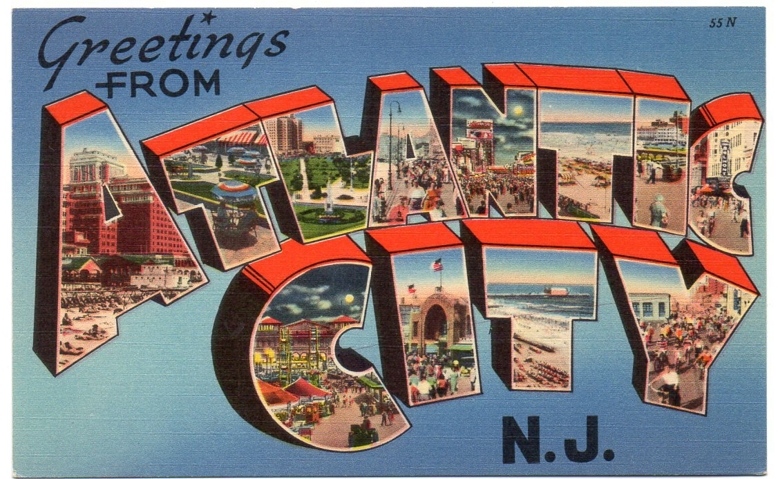 ATLANTIC CITY, New Jersey large letter linen postcard Tichnor