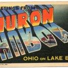 HURON, Ohio large letter linen postcard Teich
