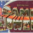 CAMP HOWZE, Texas large letter linen postcard Teich