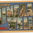 MINERAL WELLS, Texas large letter linen postcard Curt Teich