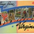 FRANKLIN, Virginia large letter linen postcard Tichnor