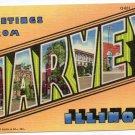 HARVEY, Illinois large letter linen postcard Teich