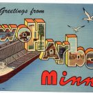 TWO HARBORS, Minnesota large letter linen postcard Teich