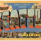 SEATTLE, Washington large letter linen postcard Teich
