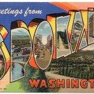 SPOKANE, Washington large letter linen postcard Teich
