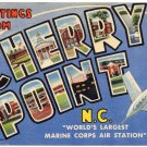 CHERRY POINT, North Carolina large letter linen postcard Teich