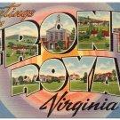 FRONT ROYAL, Virginia large letter linen postcard Tichnor
