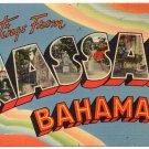 NASSAU, Bahamas large letter linen postcard Tichnor