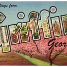 GRIFFIN, Georgia large letter linen postcard Teich