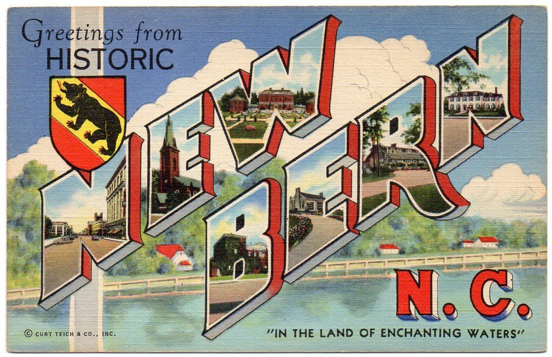 NEW BERN, North Carolina large letter linen postcard Teich