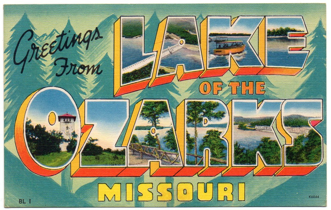 LAKE OF THE OZARKS, Missouri large letter linen postcard Colourpicture