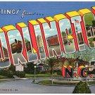 BURLINGTON, North Carolina large letter linen postcard Teich