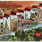 HENDERSON, North Carolina large letter linen postcard Teich