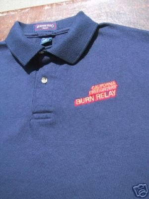 CALIFORNIA FIREFIGHTERS burn relay STAFF polo SHIRT emo