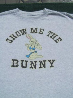 SHOW ME THE BUNNY sexy bunny girl LARGE T-SHIRT