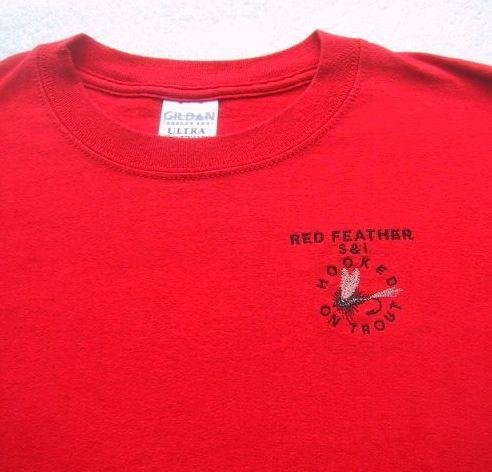 RED FEATHER S&I hooked on trout MED T-SHIRT fly fishing