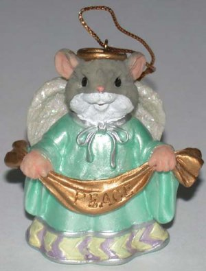 Christmas Ornament  Mouse Angel with Peace Banner